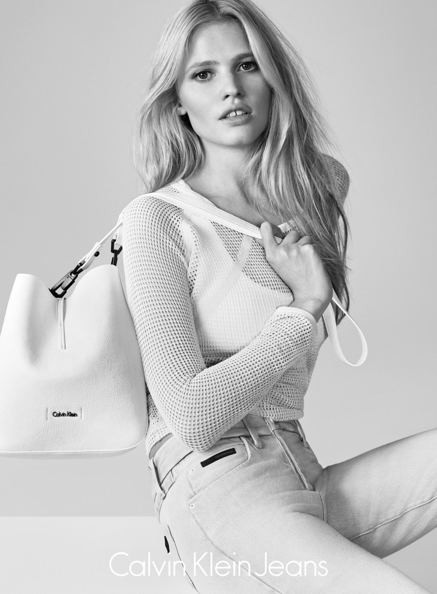 Lara Stone is white-hot for Calvin Klein Jeans' summer 2015 advertising campaign.