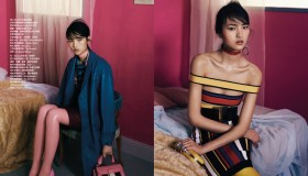 Pictured right, Luping gets graphic in a Balmain colorblocked bandage dress.