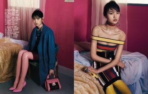 Luping Wang Models Flirty Graphic Fashions for Vogue Taiwan Shoot