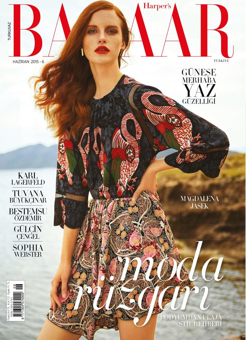 Magdalena Jasek graces the June 2015 cover of Harper's Bazaar Turkey