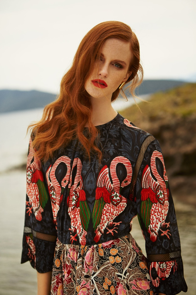 Magdalena wears an embroidered dress from Louis Vuitton's spring 2015 collection