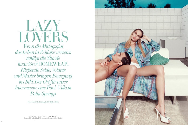 Marique Schimmel Lounges with Garrett Neff for Bazaar Germany