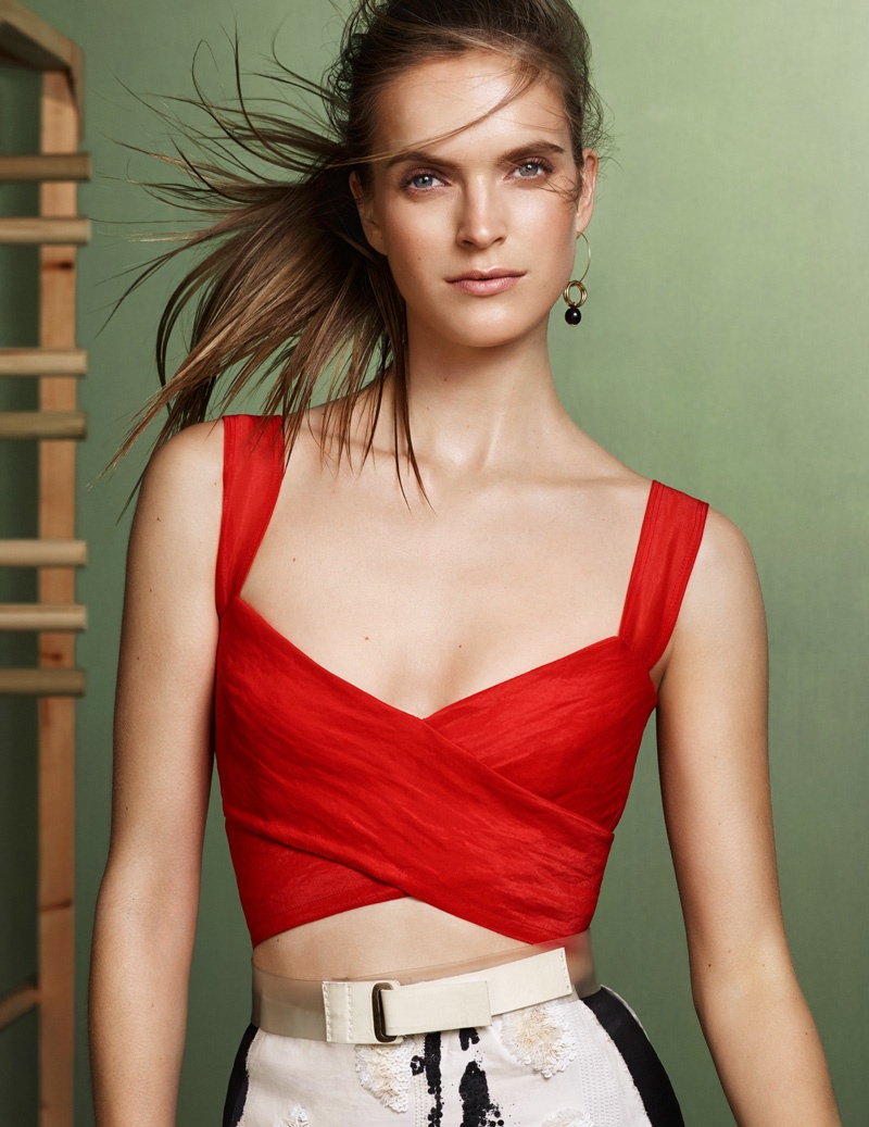 Red is in with this low-cut crop top