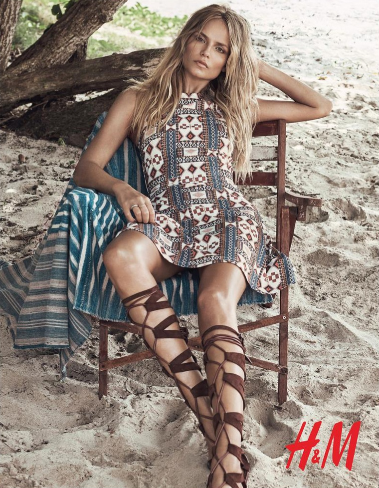 Lace-up sandals paired with a printed shift dress make a glamorous look
