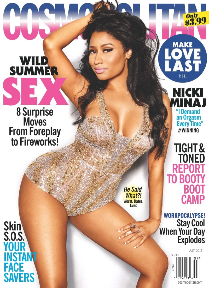 Nicki Minaj graces the July 2015 cover of Cosmopolitan Magazine