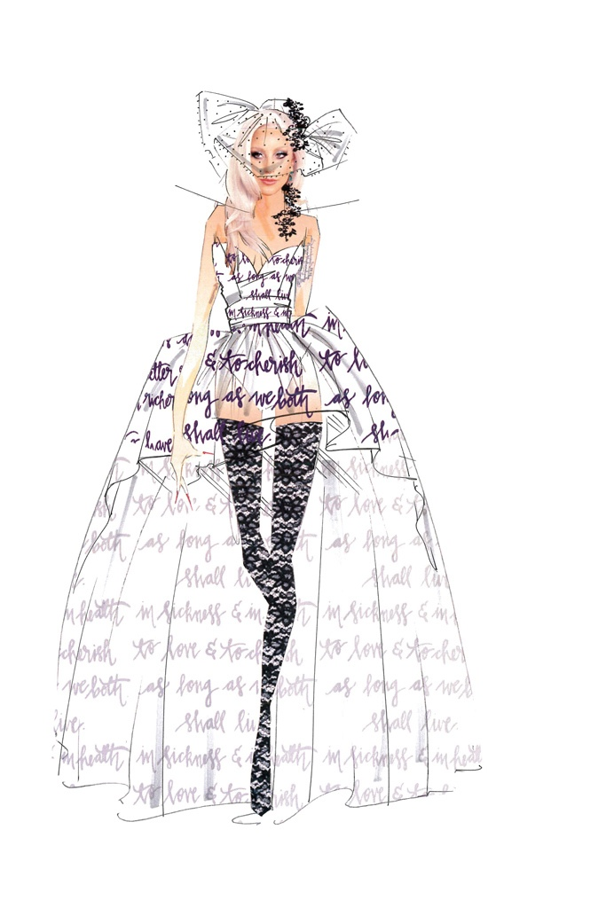 karl lagerfeld alexander wang more designers sketch lady gaga wedding dress ideas. Black Bedroom Furniture Sets. Home Design Ideas
