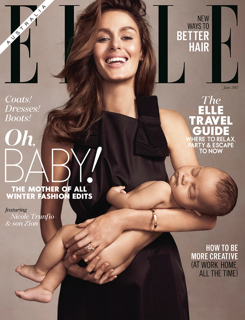 Nicole Trunfio Breastfeeds Son Zion on ELLE Australia Cover