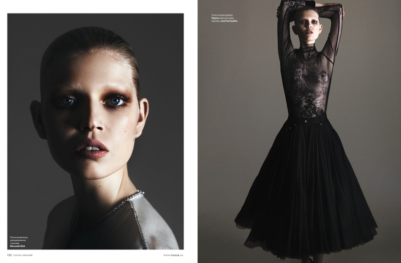 The model channels ballerina style for the images