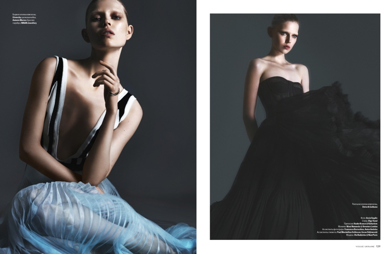 (L) Ola wears a Givenchy top (R) Ola dons a black Dolce & Gabbana dress