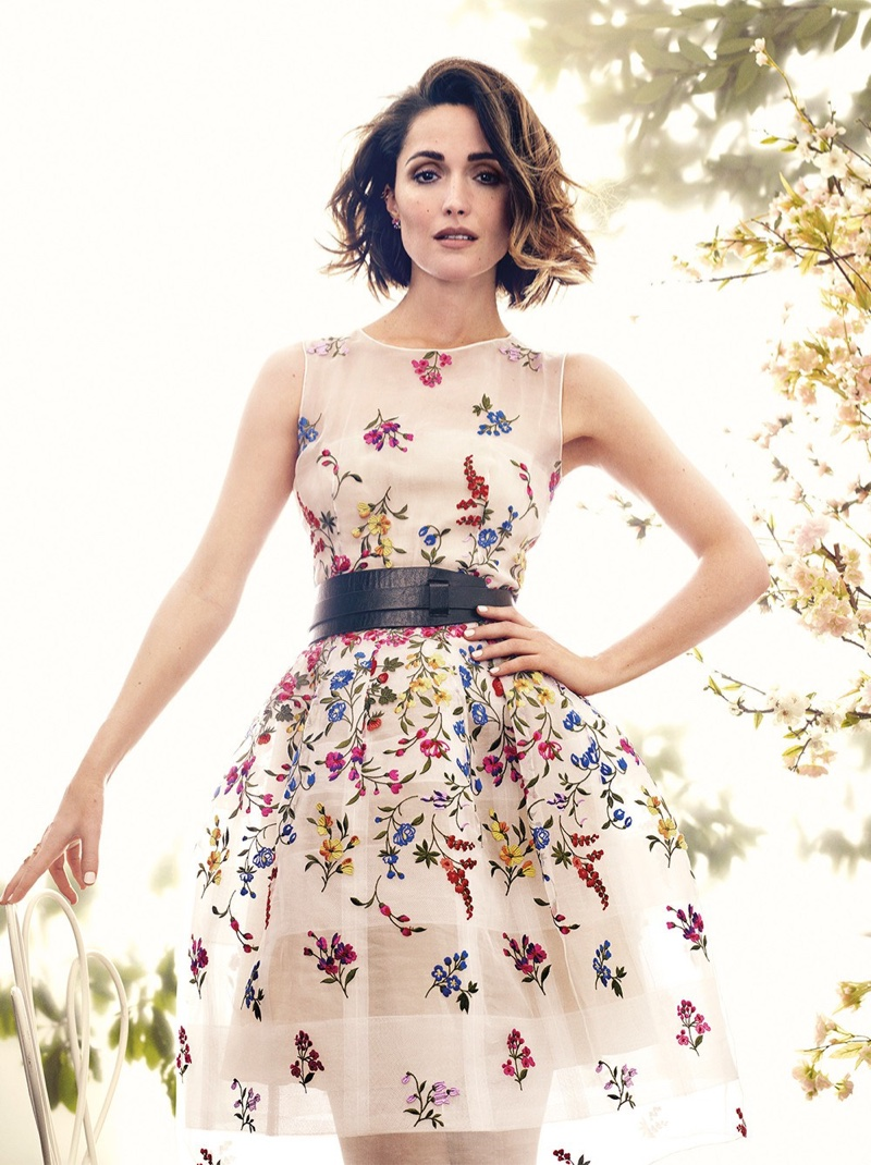Rose wears feminine floral looks for the feature