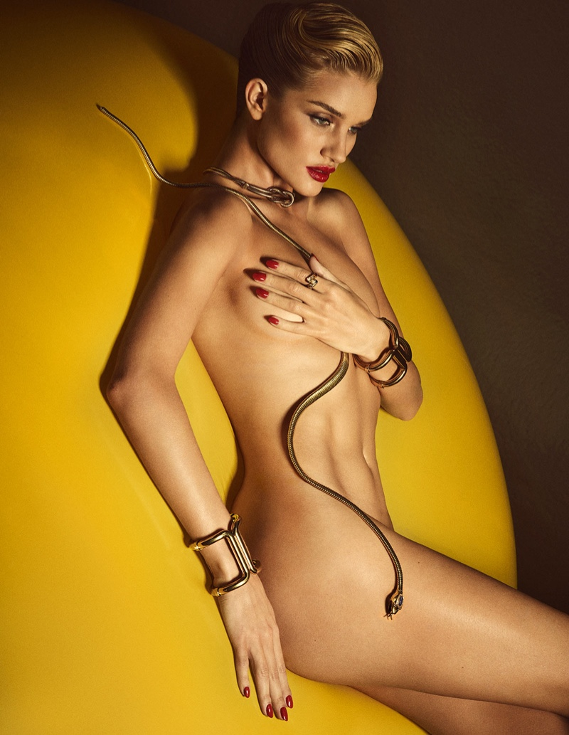 Rosie Huntington-Whiteley flaunts her lithe figure in the naked portraits