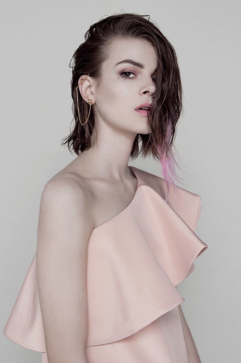 Ruby Jean wears pink streaks in her hair for the photo shoot