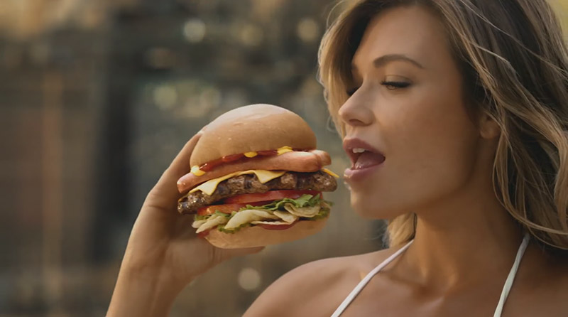 Samantha Hoopes stars in the Carl's Jr American Thickburger commercial