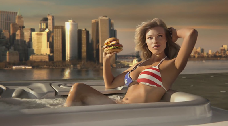 Samantha wears a stars & stripes bikini look while posing in a hot tub