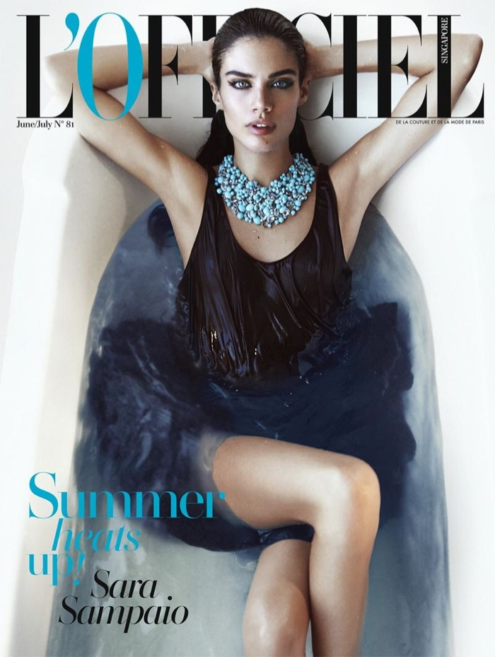 Sara Sampaio seduces on the June-July 2015 cover of L'Officiel Singapore