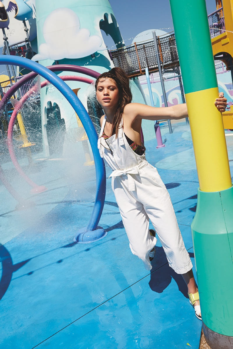 Sister to Nicole Richie, Sofia wears cropped overalls for the editorial