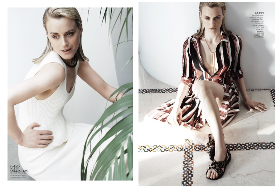 Taylor Schilling is a fashion inspiration in Calvin Klein Collection and Gucci.