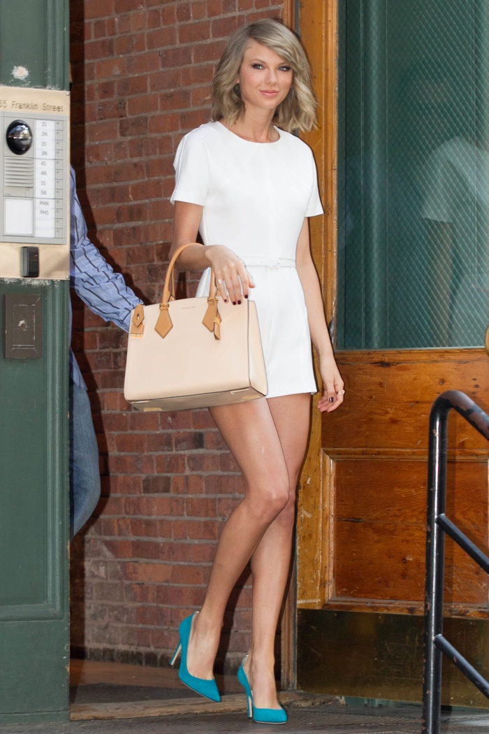 Taylor Swift Makes a Case for the White Romper While Out in New York