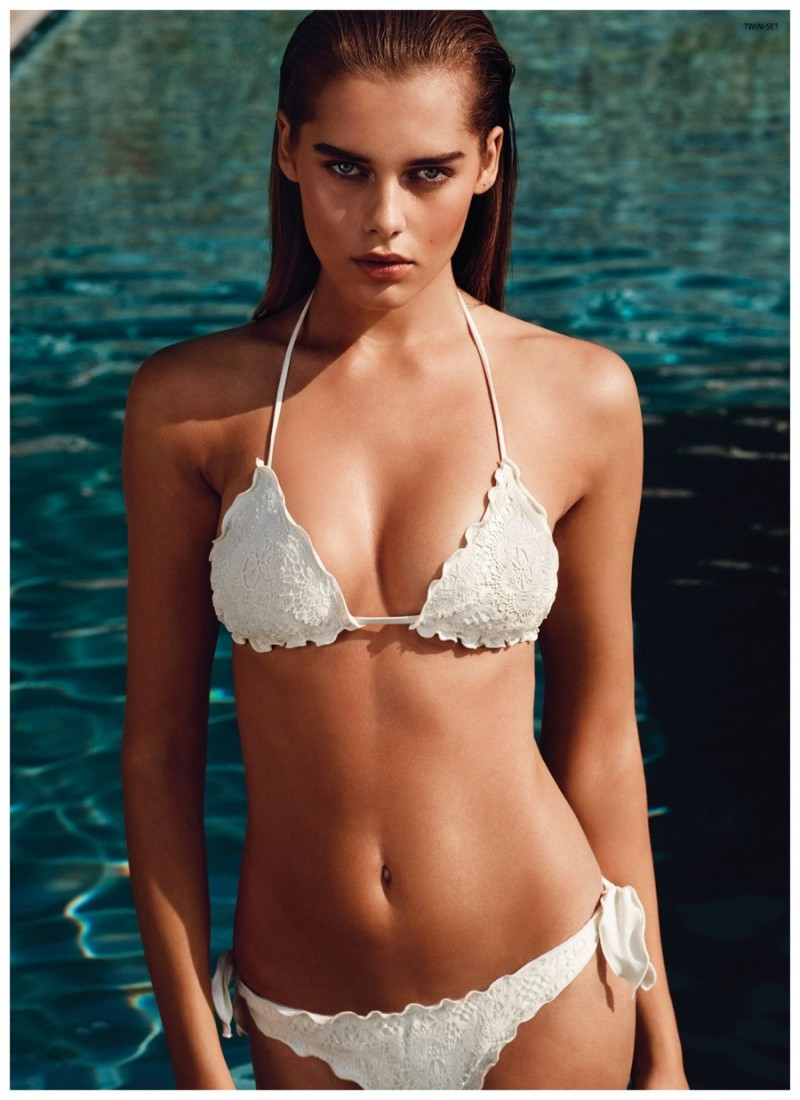 Solveig Mork is ready for summer in a dreamy white bathing suit.