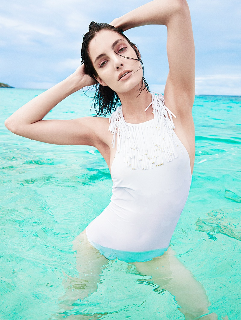 Mariana enjoys the Caribbean waters for the editorial