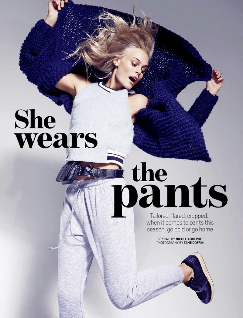 Taylah Roberts wears the latest pants trends for Cosmopolitan Australia