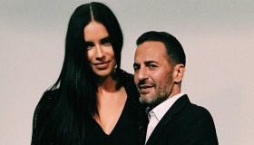 Adriana Lima and Marc Jacobs on set of upcoming fragrance campaign. Photo via Instagram.