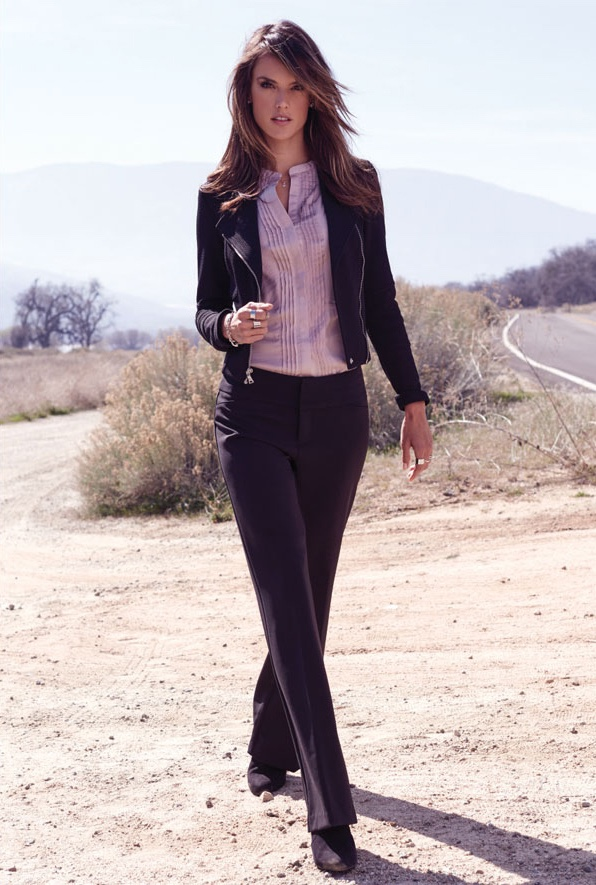 Alessandra models a pant suit for the advertisements