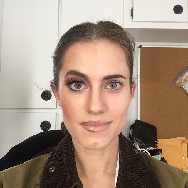 Allison Williams shares a half makeup on, and half makeup off selfie on set of 'Girls'. Photo via Instagram.