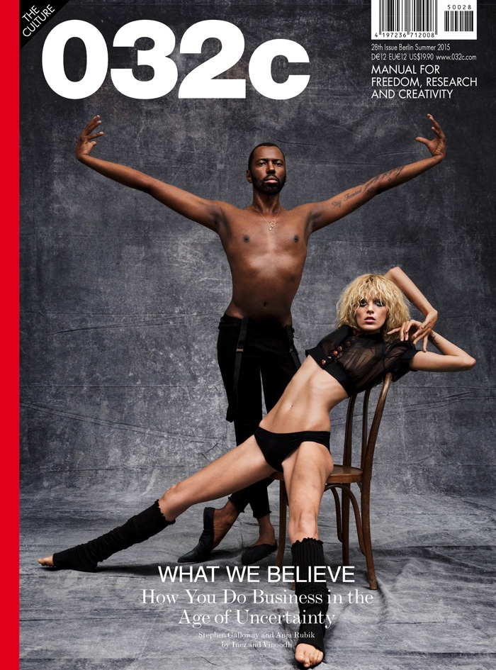Anja Rubik & Stephen Galloway grace the summer 2015 cover of 032c Magazine