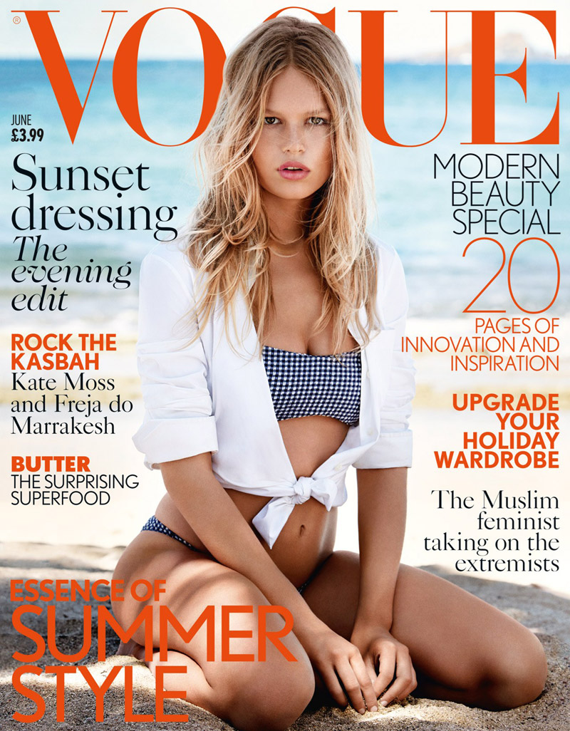 Anna Ewers wears a swimsuit on Vogue UK June 2015 cover
