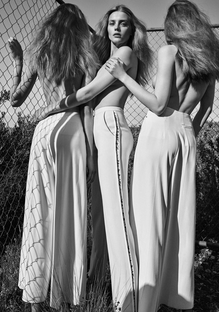 The shoot was inspired by The Three Muses statue