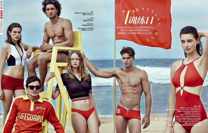 Models play lifeguards for Harper's Bazaar China photographed by Shxpir