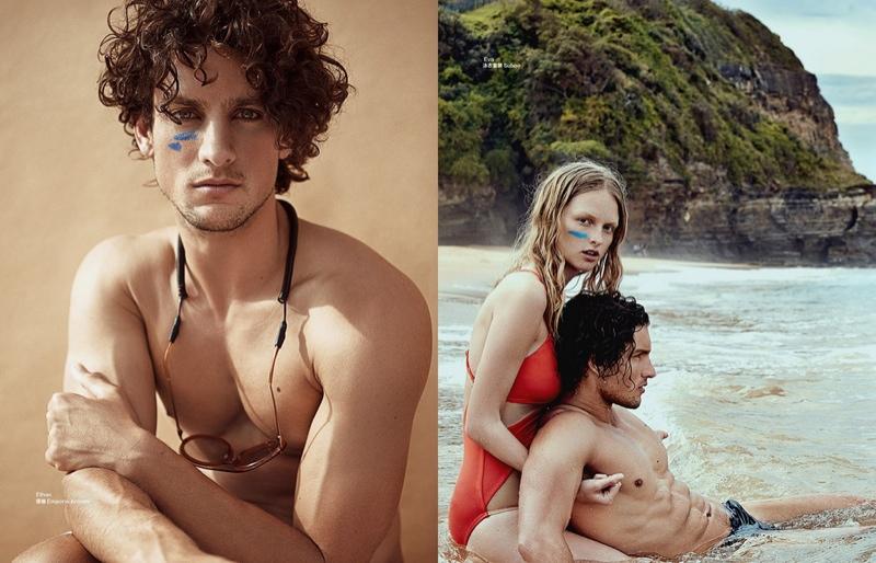 Models wear blue sun screen lines for a unique beauty statement
