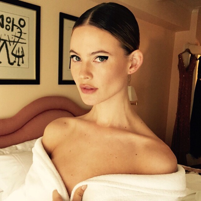 Behati Prinsloo has an elegant updo for the Met Gala