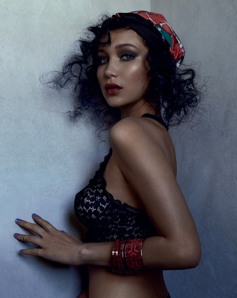 Bella Hadid Wears Colorful Head Scarves in Grey Magazine