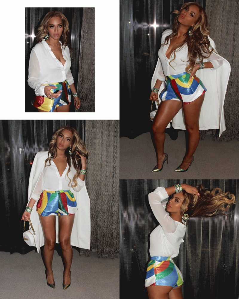 Beyonce wears multi-color print DSquared2 shorts