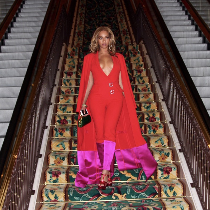 Beyonce wears Harbison Trompe L'Oeil jumpsuit and cape to Mayweather Paciano fight in Las Vegas