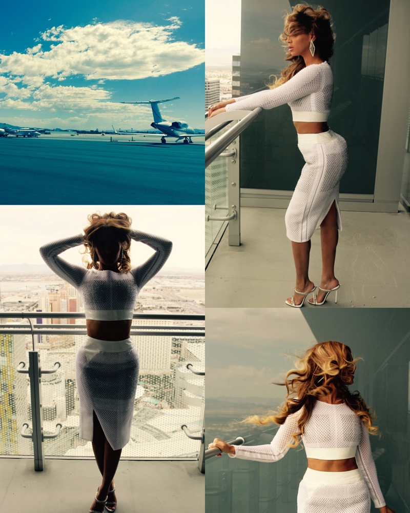 Beyonce sports white Mikhael Kale crop top and matching skirt with Giuseppe Zanotti shoes