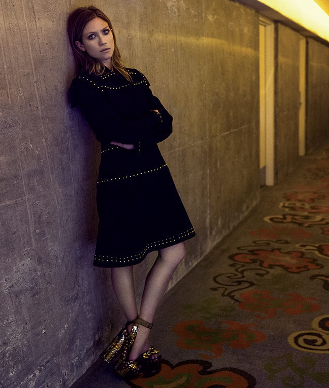 The 'Pitch Perfect 2' actress wears dark fashions for the photo shoot
