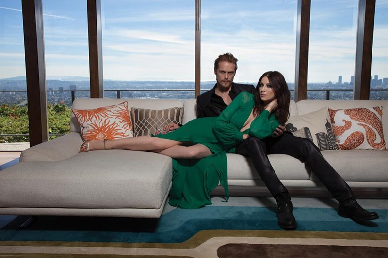Sam Heughan & Caitriona Balfe pose for Emmy Magazine