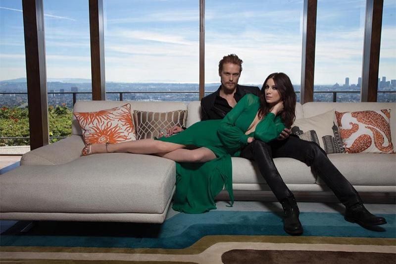 'Outlander' Stars Sam Heughan & Caitriona Balfe Pose for Emmy Magazine