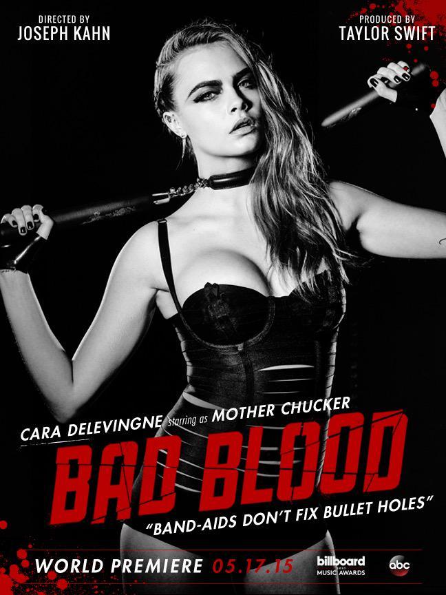 Cara Delevingne on 'Bad Blood' music video poster