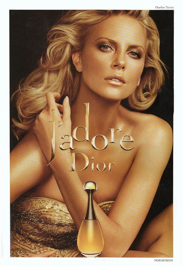Charlize Theron has been the face of J'adore Dior for over a decade, Here is a 2007 advertisement featuring the South African actress.