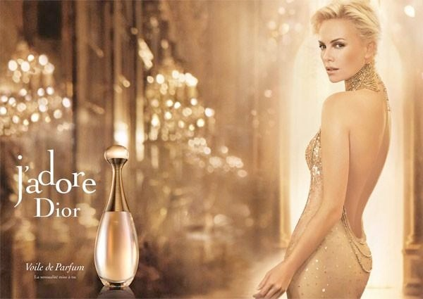 Here is Charlize Theron in a J'Adore Dior advertisement from 2013
