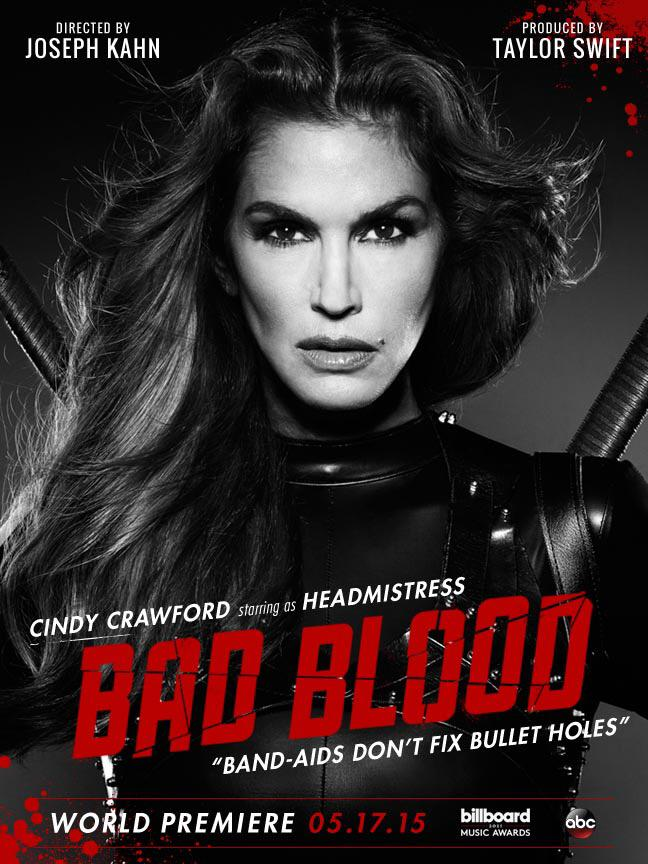 Cindy Crawford as Headmistress on 'Bad Blood' poster