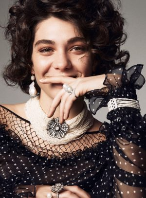 Steffy Argelich Wears Curly Hairstyles for Vogue Turkey Jewelry Story