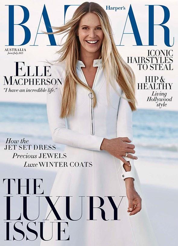 Elle Macpherson lands on the June-July 2015 cover of Harper's Bazaar Australia