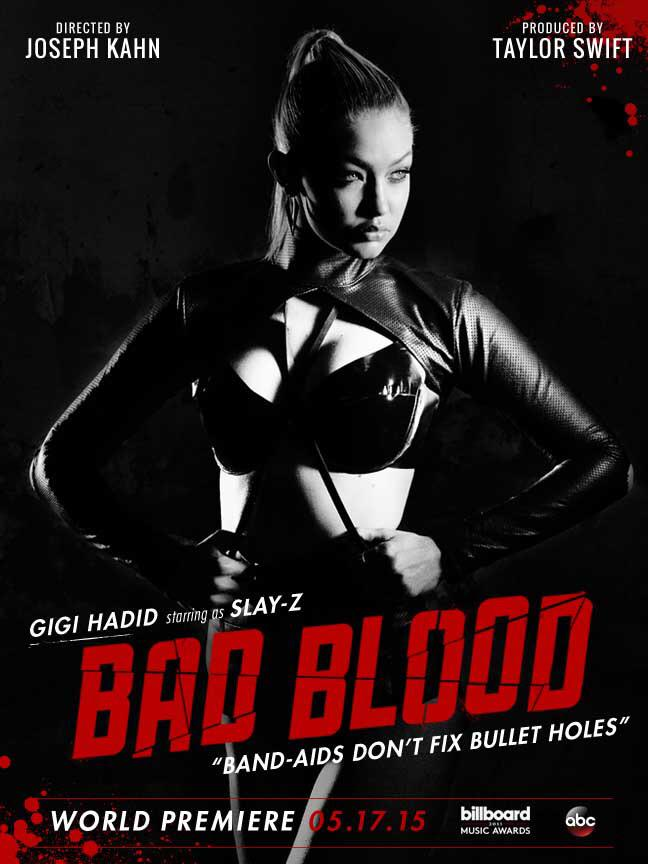 Gigi Hadid on 'Bad Blood' music video poster