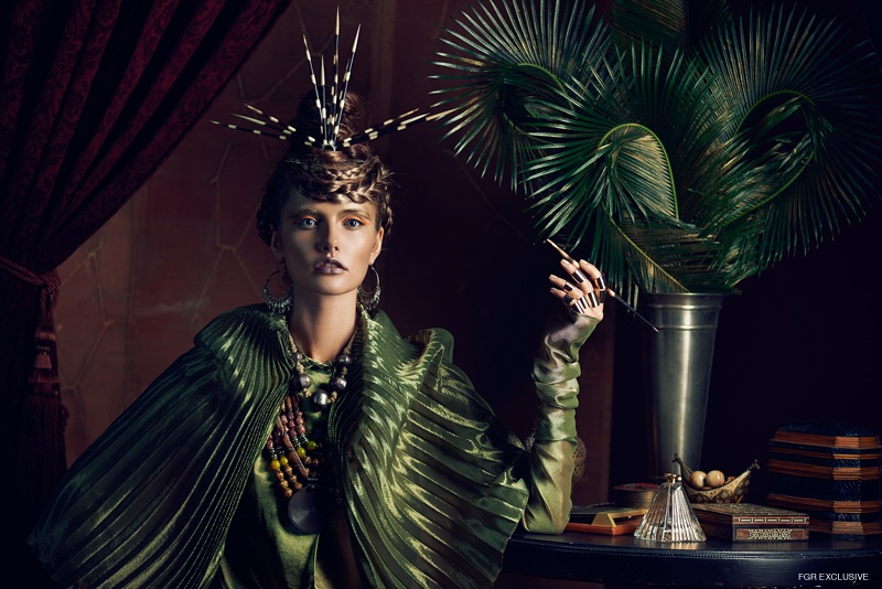 Romeo Gigli Top (vintage), Masha Archer Necklace, Earrings Erika Peña, Necklace & Porcupine Crown Steven Anton Rehage