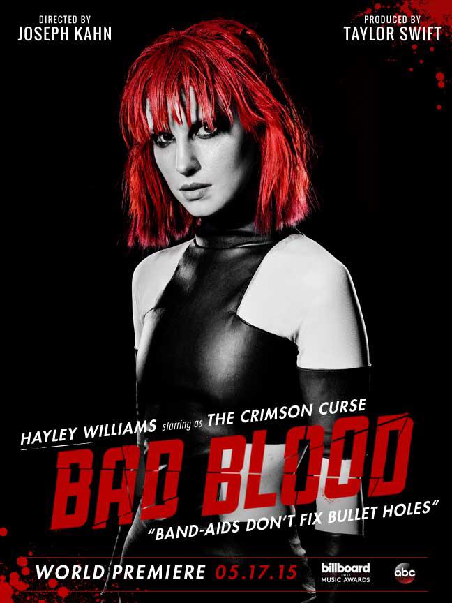 Hayley Williams on 'Bad Blood' music video poster